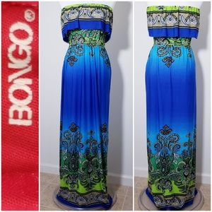 #508 BONGO blue/green maxi dress *small